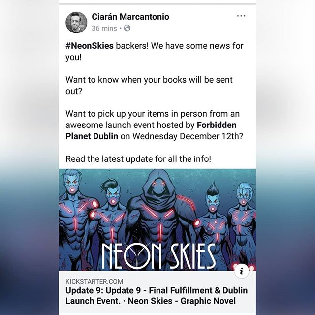 #NeonSkies backers! We have some news for you!  Want to know when your books will be sent out?  Want to pick up your items in person from an awesome launch event hosted by Forbidden Planet Dublin on Wednesday December 12th?  Read the latest update for all the info!  #NeonSkies #Kickstarter #KickstarterCampaign #BeElite #GoRogue #RoguesGallery #RogueComicsIreland #RogueNation #GraphicNovel #Comics #IrishComics #IndieComics #MakingComics #Writer #Artist #Colourist #Letterer #Editor