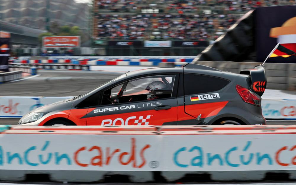 Sebastian Vettel behind the wheel of the DirtFish/OMSE ARX2 car