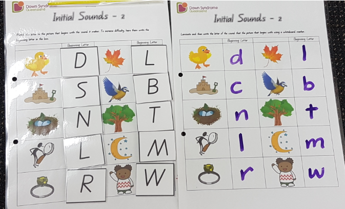 Initial Sound Letter Match-Up — Down Syndrome Queensland