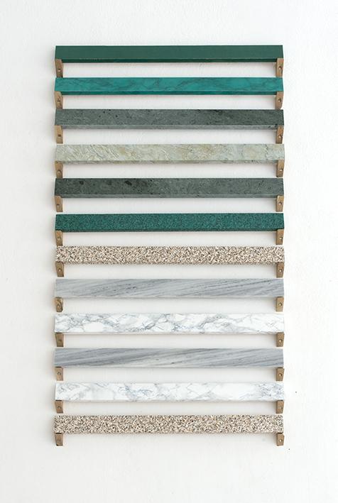 Marble / Faux marble, marble, wood, vinyl, 68cm x 105cm, 2016