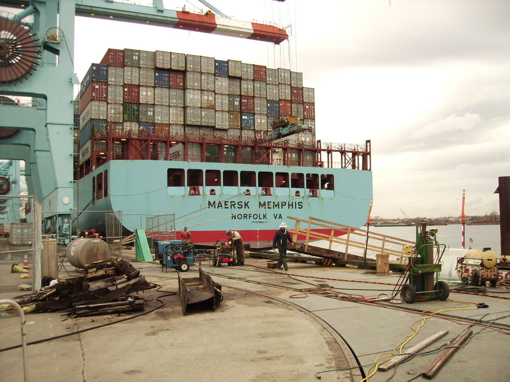 Emergency repairs at active port facility