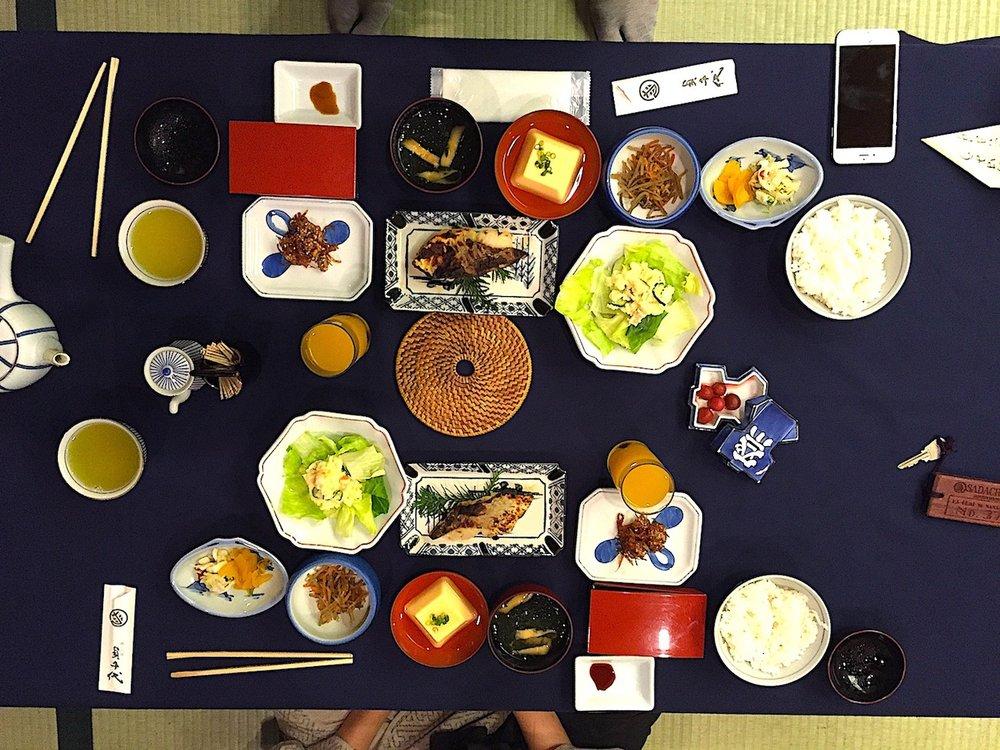 Café da manhã para duas pessoas no ryokan. Foto:Patti Neves