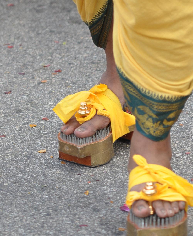 Thaipusam magic shoes, Singapore. Photo: David Mattatia
