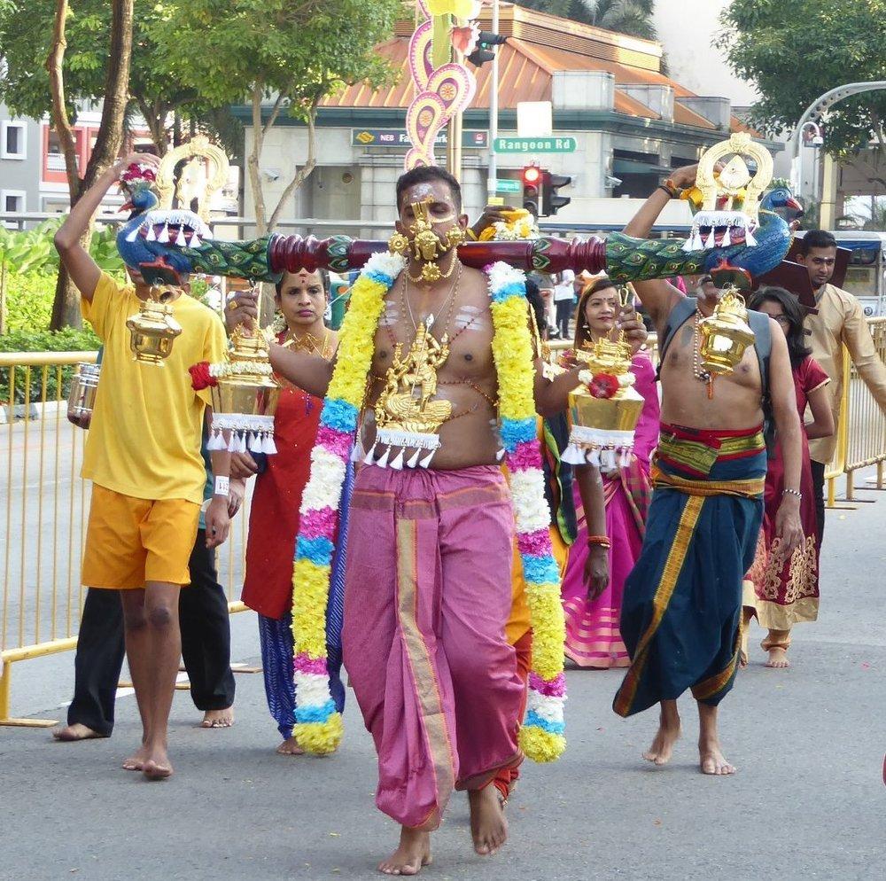 Devotees carrying kavadis at Serangoon Road, Singapore. Photo: Fernanda Brocoletti
