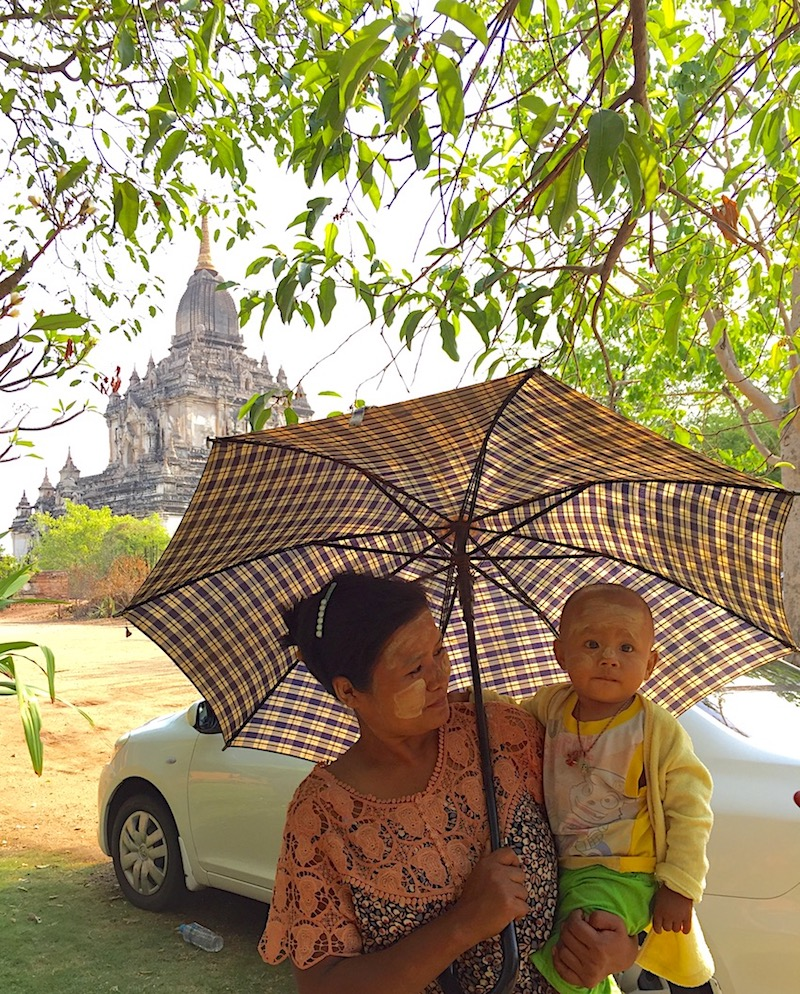Woman wearing the local sunscreen in Myanmar. Photo: Patti Neves