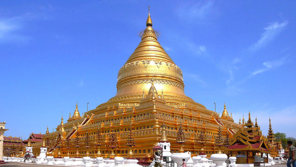 Shwezigon, o primo do Shwedagon.  Wikimedia common