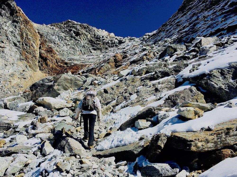 Subindo o Chola Pass (5.300m).