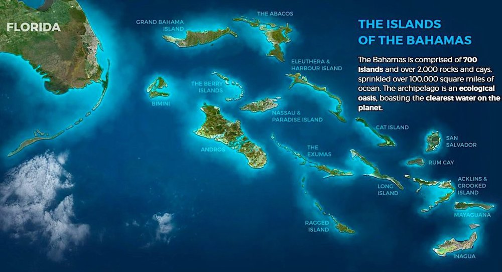 As setecentas ilhas das Bahamas. Crédito:  Bahamas.com