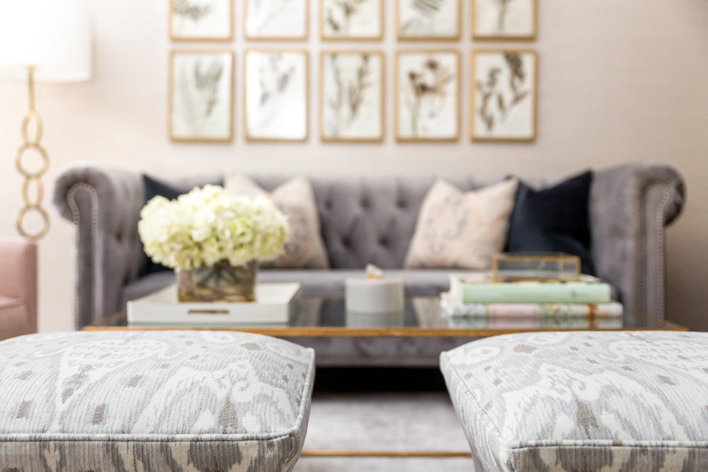 Transitional Grey Tufted Couch - Lacey Michalek