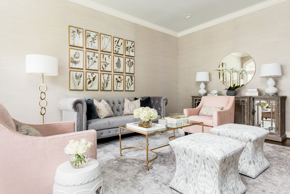 Transitional Grey and Pink Living Room - Lacey Michalek