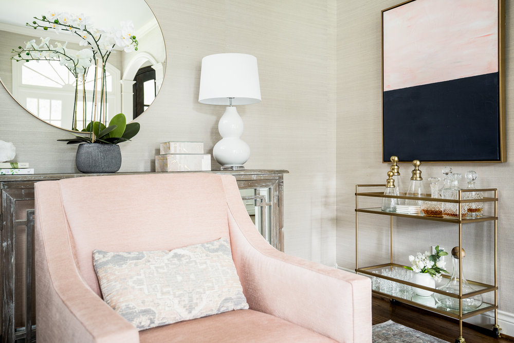 Transitional Pink Chair Living Room - Lacey Michalek