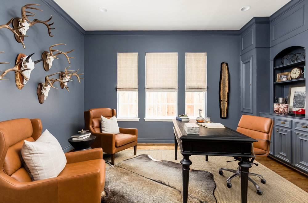 Blue Home Office with Leather