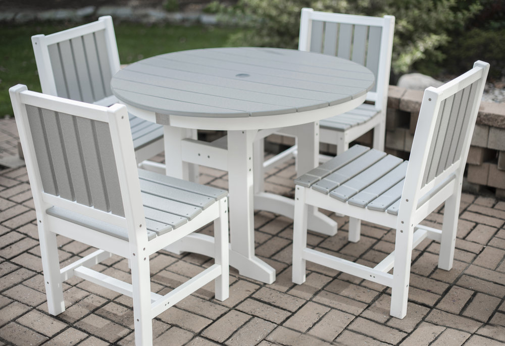 Lewiston - Gather the whole family together and enjoy a summer evening meal around your DuroGreen® Lewiston Collection Dining Set.  Our dining set is the perfect centerpiece for your outdoor space.  Moments like these can last for years to come because our tables are made from the highest quality materials that are weather resistant and low maintenance.