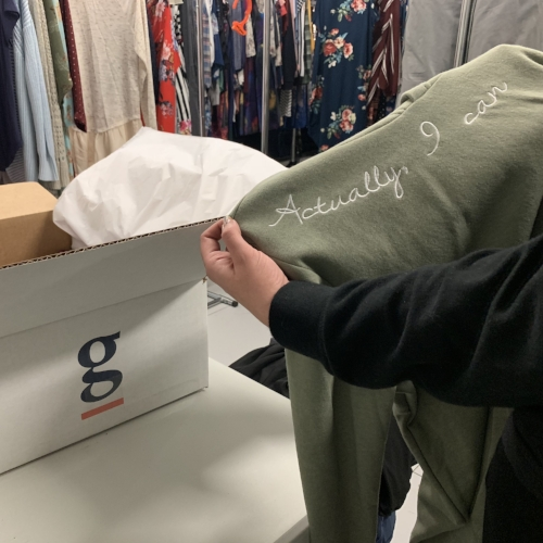 NEW, SIZE-LESS & DELIVERED TO YOU - Individualized boxes will packed and shipped within a week. Our candidate can try on their new, size-less clothing, keeping anything they want and sending back anything that didn't work.