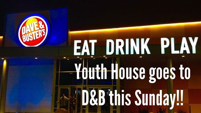 Yo peeps! This Sunday Youth House is taking place at DAVE & BUSTER'S!!! Drop off time is at 4 Meeting House Circle at 6:30pm and pickup time is the same place at 8:30pm. MAKE SURE TO FILL OUT THE PERMISSION SLIP: the link is in our bio! All the information is there as well.  You can bring however much money you want depending on how many tokens you want to purchase. Again, the pricing and all other details are in the permission slip. WE CAN'T WAIT TO SEE YOU THERE!🤪