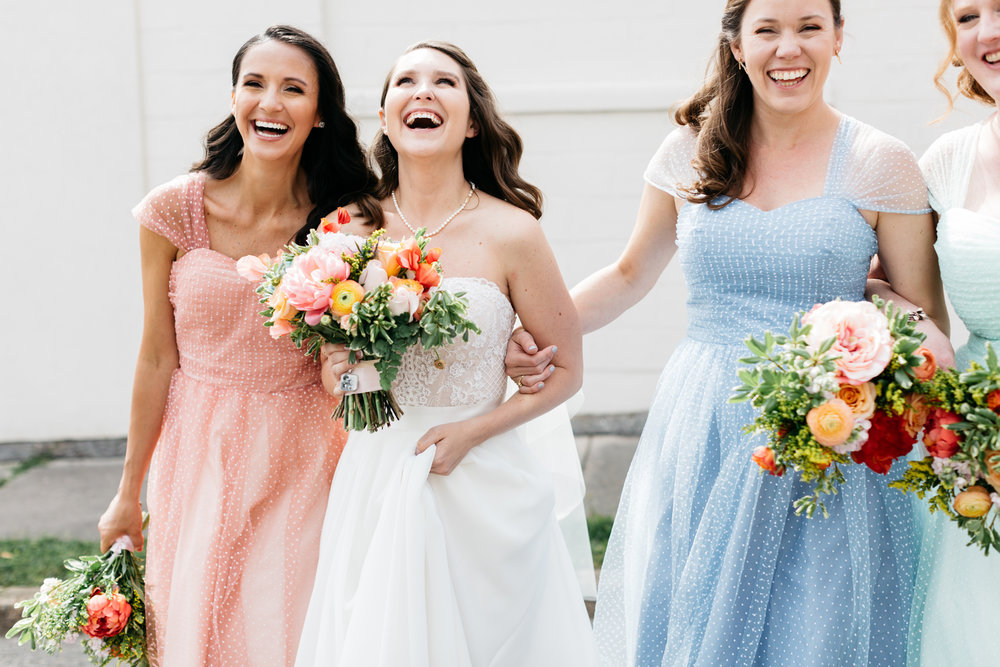 Standard Downtown Knoxville Wedding Venue Central Avenue Happy Holler Bridal Party Laughing