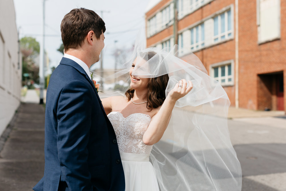 Standard Downtown Knoxville Wedding Venue Central Avenue Happy Holler First Look Veil