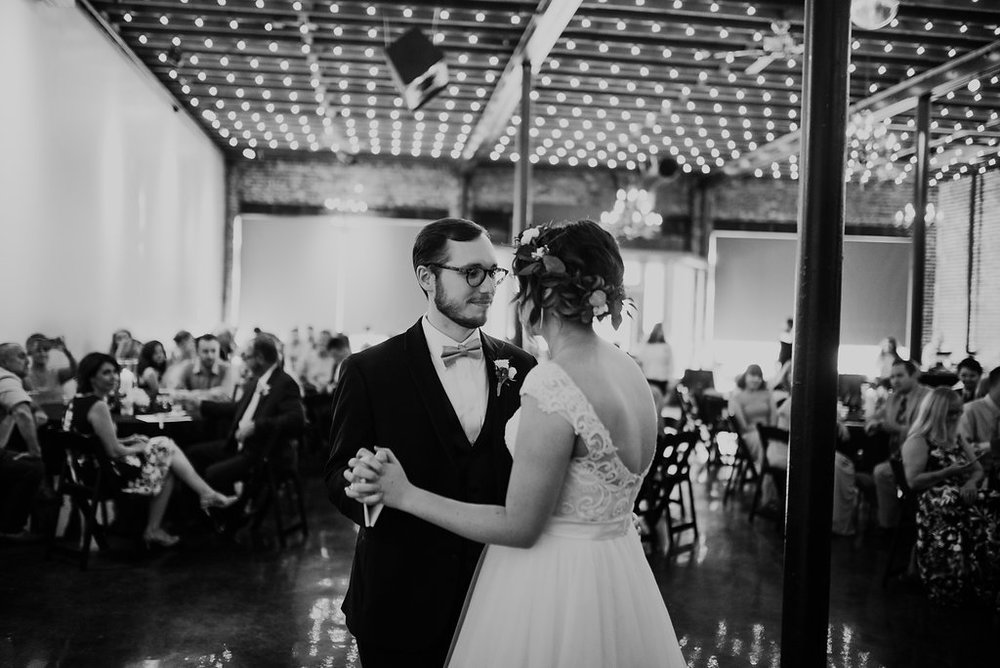 Standard Downtown Knoxville Wedding Venue Central Avenue Happy Holler First Dance Bistro Lights