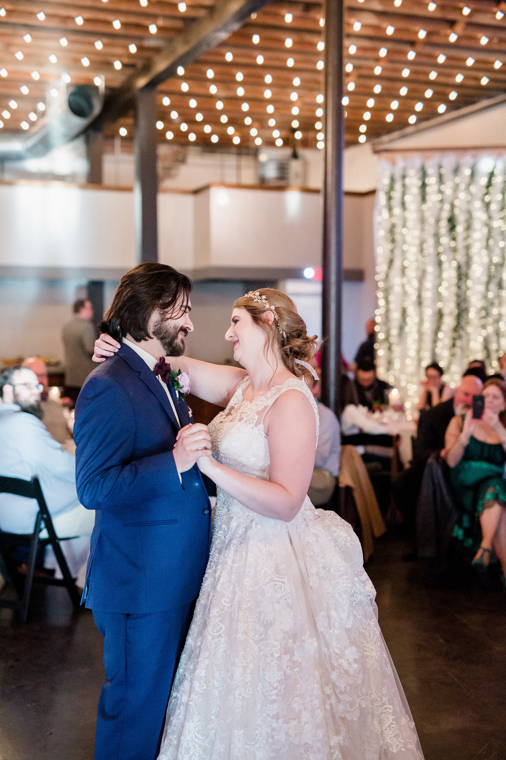 Downtown Knoxville Wedding Venue // Central Avenue Reception // Bridesmaids // First Dance under the Bistro Lights