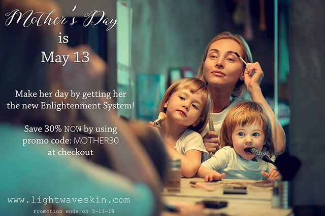 MOTHER'S DAY SPECIAL!!!!😍 Mother's Day is coming up, and we know EXACTLY what mommas need this year...a new Enlightenment System from Lightwave! 😮 This package includes one bottle of the Epistémé serum PLUS one of our red light therapy masks.  Also, for this special only, receive a gorgeous silky robe included in your shipment as a free gift from us to MOM! 🤱 Use promo code: MOHTER30 at checkout to receive 30% off!  Offer is good through May 13, 2018.  www.lightwavelifestyle.com/skincare  #lightwaveforthewin #vitaminc #red #light #therapy #redlight #redlighttherapy #vitace #LED #beautyface #beautylight #skincare #treatments #collagen #wrinkles #nowrinkles #fineline #skin #skintherapy #health #esthetician #dermatology #brownspots #badskin #clearskin #prettyskin #clearupskin #acne #clean #pimples