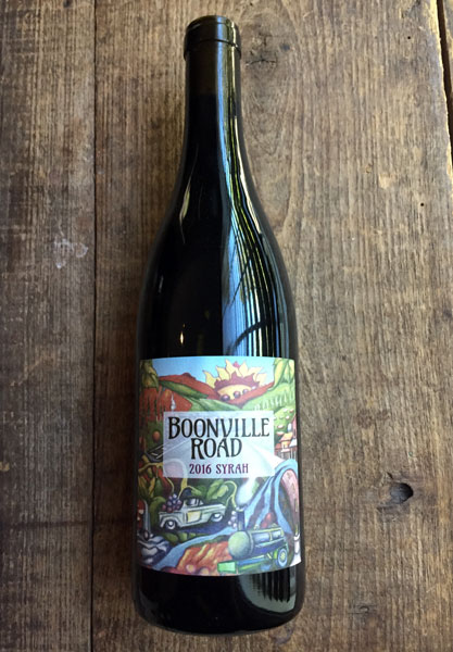 2016Syrah - Broken Leg Vineyard, MendocinoPicked on October 1, 2016 at 24.2° Brix and a pH of 3.68. The yield was a little over two tons per acre. Sorted and gently destemmed, with about 10% stem inclusion. After four weeks on the skins we pressed this into two neutral French oak barrels on October 29, 2016. After eleven months in barrel, we bottled 53 cases in early September, 2017. The finishing pH is 3.74 with a TA of 5.5.From the only Syrah vineyard in Anderson Valley. Black cherry, pomegranate, leathery and cured salami aromas. A core of flinty graphite umami supports layers of marionberry compote, sautéed chanterelles and black trumpet mushrooms and a medium tone, with silky tannins enhancing the finish.
