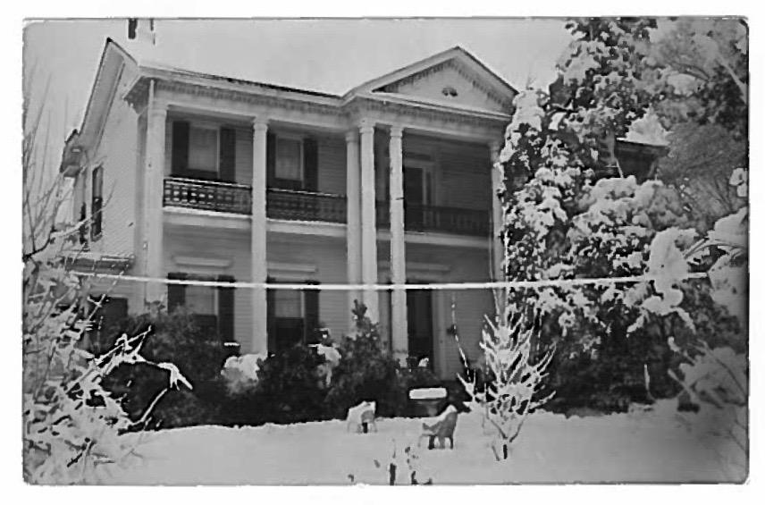 The house at its original location, as seen in a family Christmas card from the late 1950s