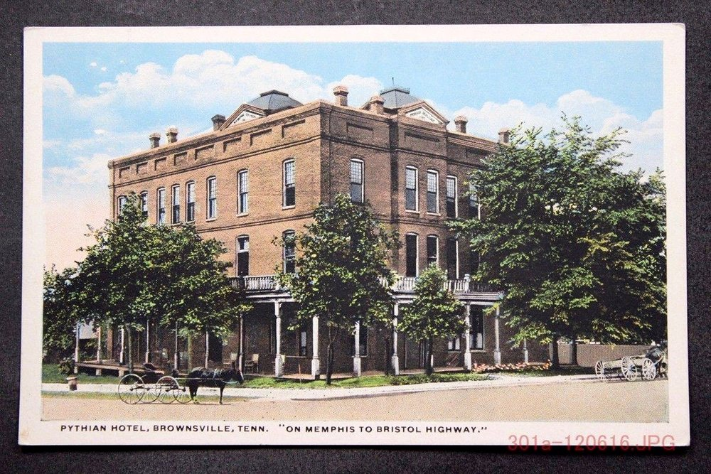 Pythian Hotel Postcard downtown Brownsville, circa 1904, David L. Duke