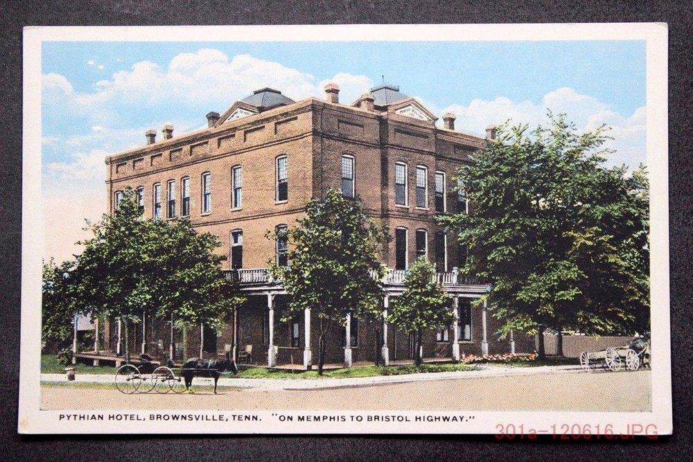 Pythian Hotel Postcard downtown Brownsville, circa 1904, David L. Duke