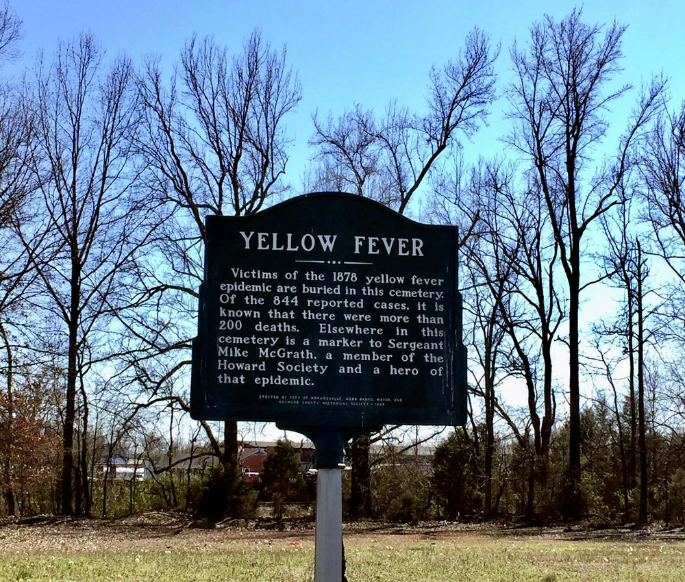 Brownsville TN Oakwood Cemetery Yellow Fever Marker 2017 Hayes