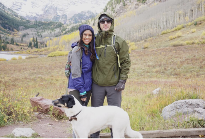 Sidney and her husband David and their dog Jaxx in the Colorado Mountains.