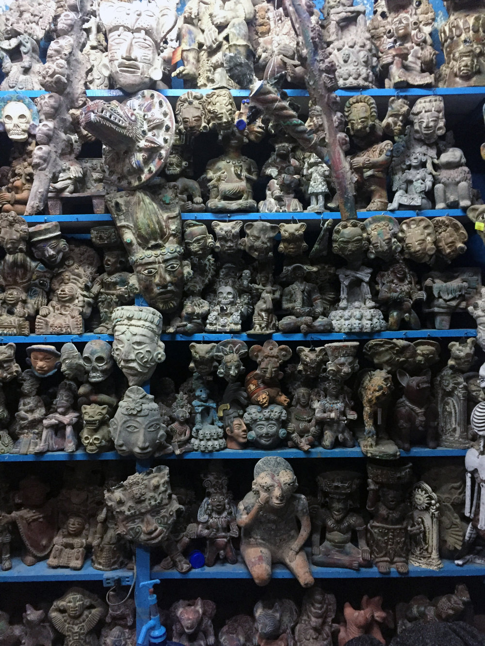 Skull sculptures at the artisanal market.
