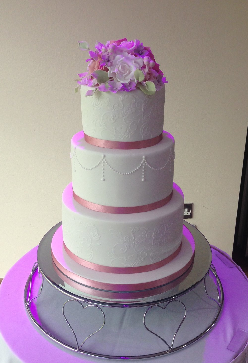 lace design wedding cake. Loren Brand Cakes