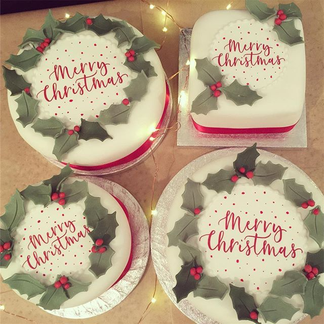 The last of the Christmas cakes are going out today. The rich fruit cakes are matured with brandy and covered in marzipan and icing 🎄🎄🎄 Thank @nikkiwhistoninks for your lovely Merry Christmas calligraphy x