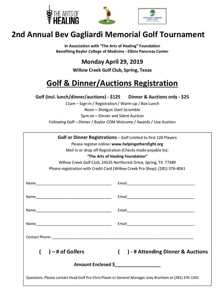 Tournament Flyer 2nd Annual Bev Gagliardi Memorial Golf Tournament