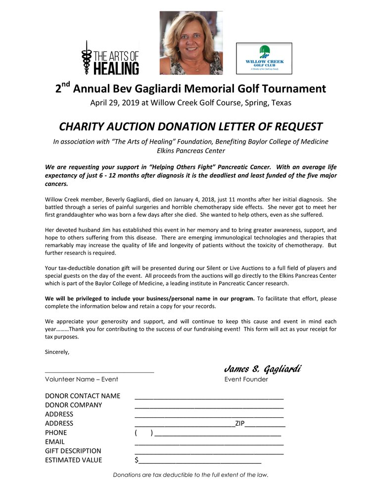 Charity Auction Donation Request Letter 2nd Annual Bev Gagliardi