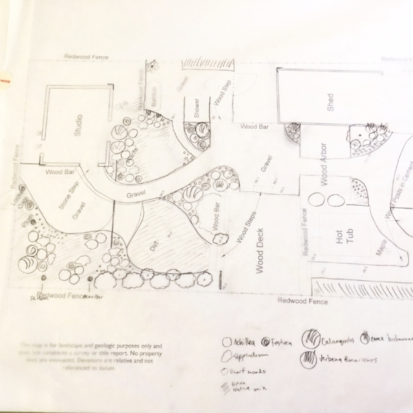Back yard planting plan redesign. Sebastopol, 2018