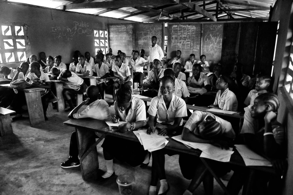 Students at school in Liberia