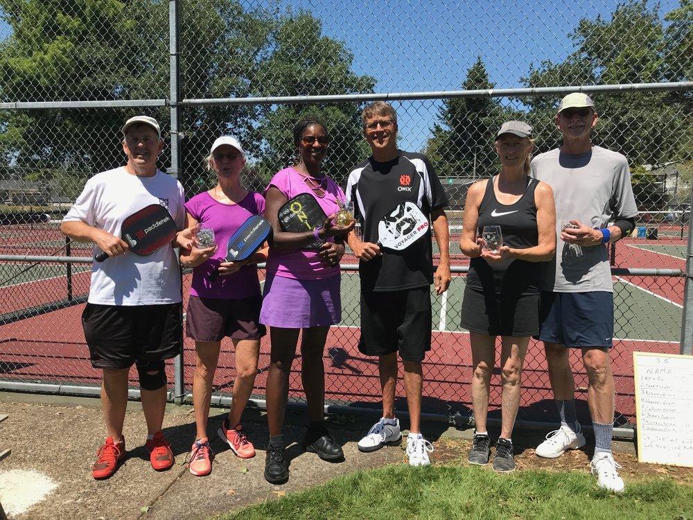 Mixed Doubles 4.0/4.5+ Winners: Craig Palermo & Cami Schermerhorn, Roger Schaljo & Sally Ruxton, Jeff Houck & Crista Danielson