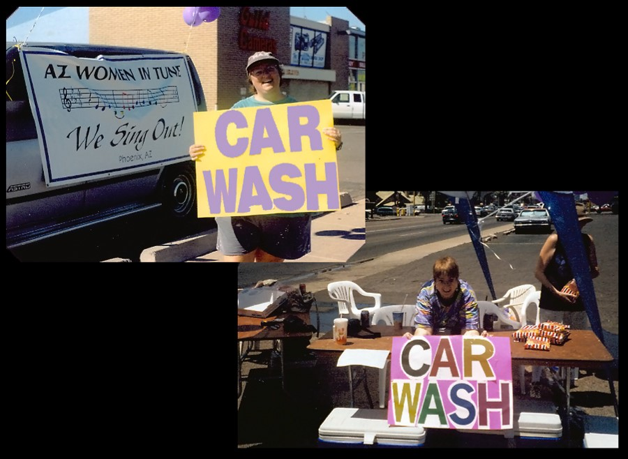 Our first car wash fundraiser (we raised about $300).