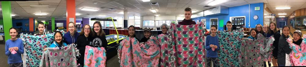 This past February, the teens made tie-fleece blankets to donate to Alaska Regional Hospital.
