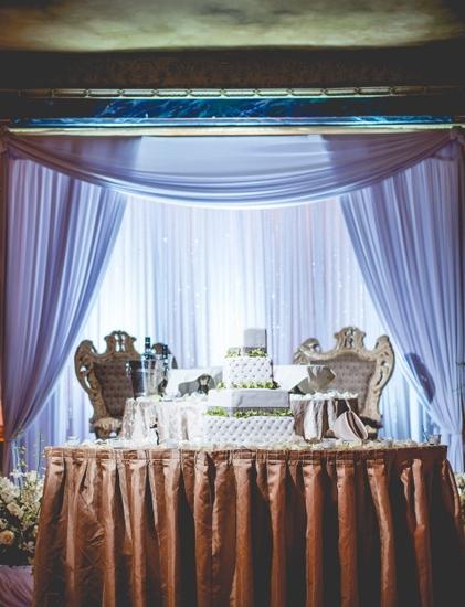 Leonard's Palazzo sweetheart table backdrop stage