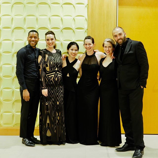 Meet the #EnsembleMelange fam! ❤️💜 All smiles and looking fabulous after our concert in Portland, ME on Thursday night! A huge thanks to @jcamaine for having us—we had such a wonderful time!!! (📸 @renaringo) . . #morankatz #hassananderson #chambermusic #concerts #musicians #allsmiles #oboe #clarinet #piano #soprano #violin #cello #instaclassical #classicalmusic #arrangements #originals #ninorota #broadway #newmusic #bernstein #chopin #heifetz #groupphoto #lovelove #ontour #thankyou