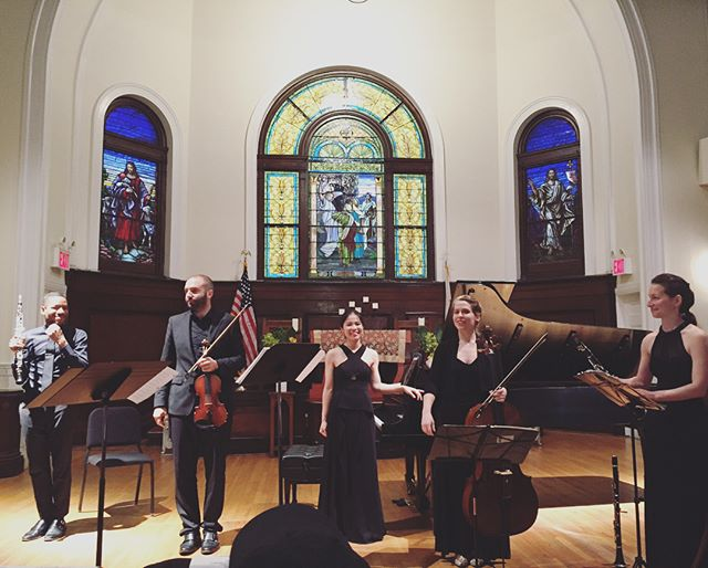 Thanks to everyone who came to our #EnsembleMelange #debut concert in NYC yesterday! Here's us taking some final bows after #bernstein #candide 🎶🎉🐾 Stay tuned for upcoming concerts! 😘 . . . #gorgeousvenue #church #concert #ensemble #chambermusic #oboe #clarinet #piano #violin #cello #soprano #voice #steinway #thankful #nycevents #hassananderson #morankatz