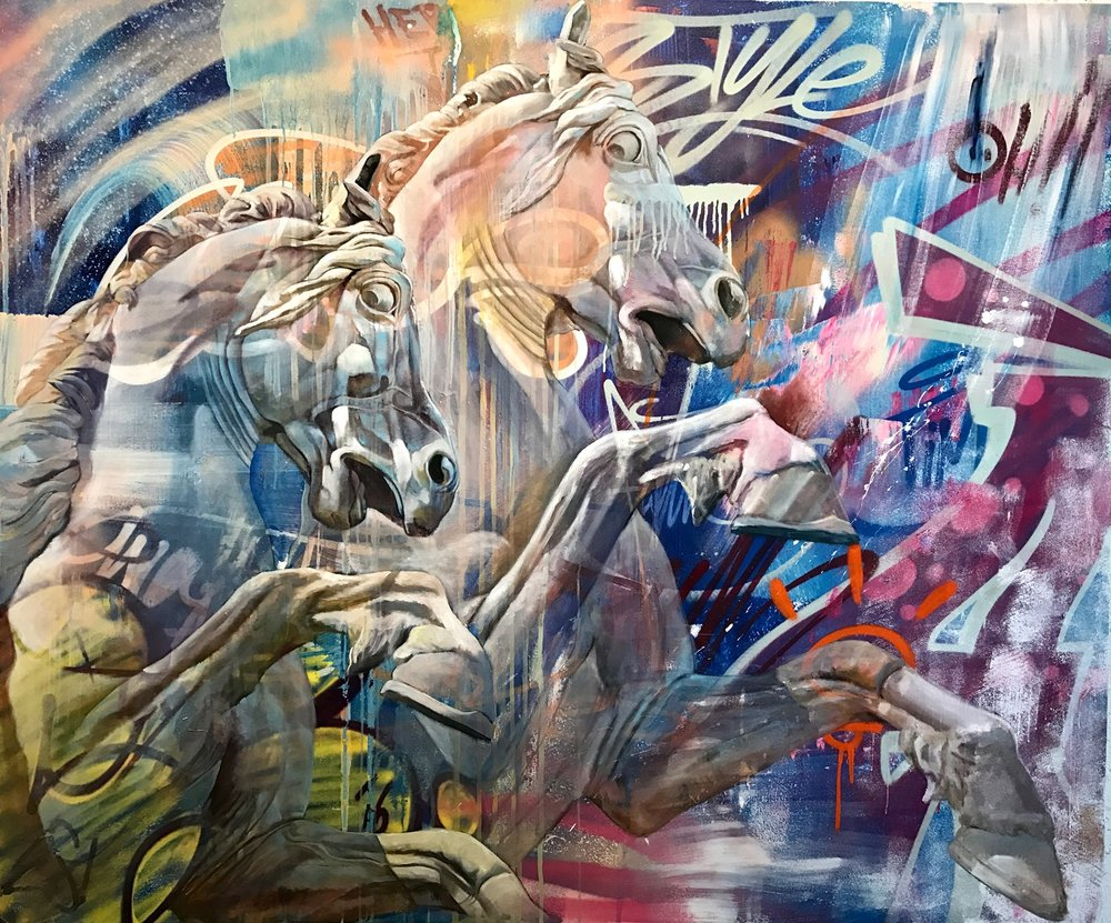 PICHIAVO  La Doma de Poseidon , 2016  Spray paint, acrylic and oil on canvas. Signed on the lower right  60 x 72 in.