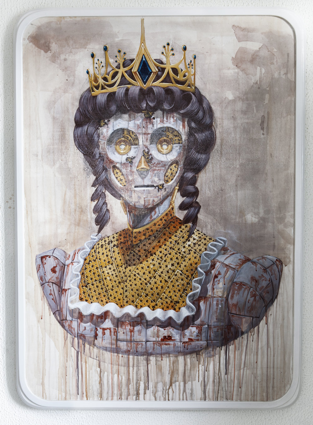 PIXELPANCHO  Robot save The Queen , 2015  Acrylic and pencil on wood panel with hand made frame. Signed, titled and dated on reverse  50 x 35 in.