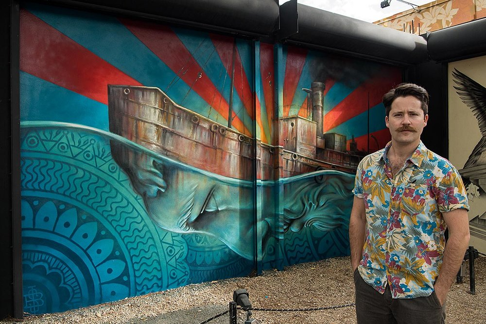 BEAU STANTON IN FRONT OF HIS WYNWOOD MURAL