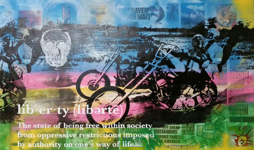 PETER TUNNEY  b.1961   EASY RIDER    Unique hand-pulled silkscreen, collage of mixed media and aerosol on canvas, signed lower right by the artist in acrylic paint.  48 x 72 in. $25,000