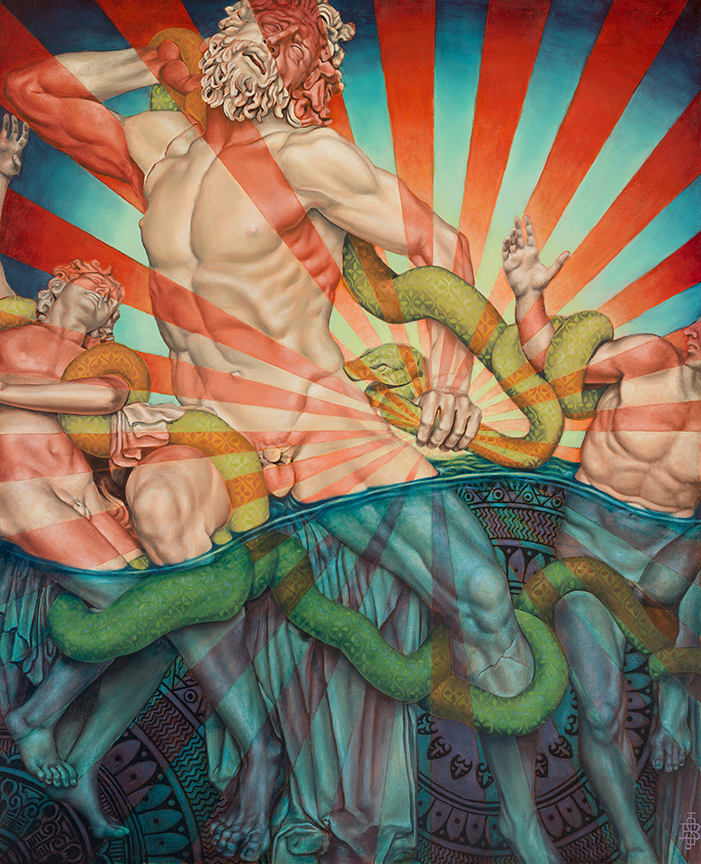 BEAU STANTON  Laocoon , 2015  Oil and acrylic on wood. Signed lower right  30 x 24 in.