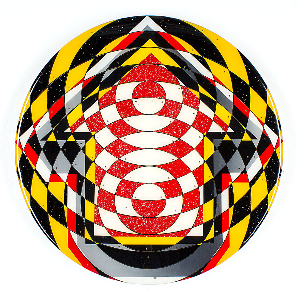 TAVAR ZAWACKI aka ABOVE  Maryland , 2014  Mixed media on wood. Signed, titled and dated on reverse  17 in. diameter