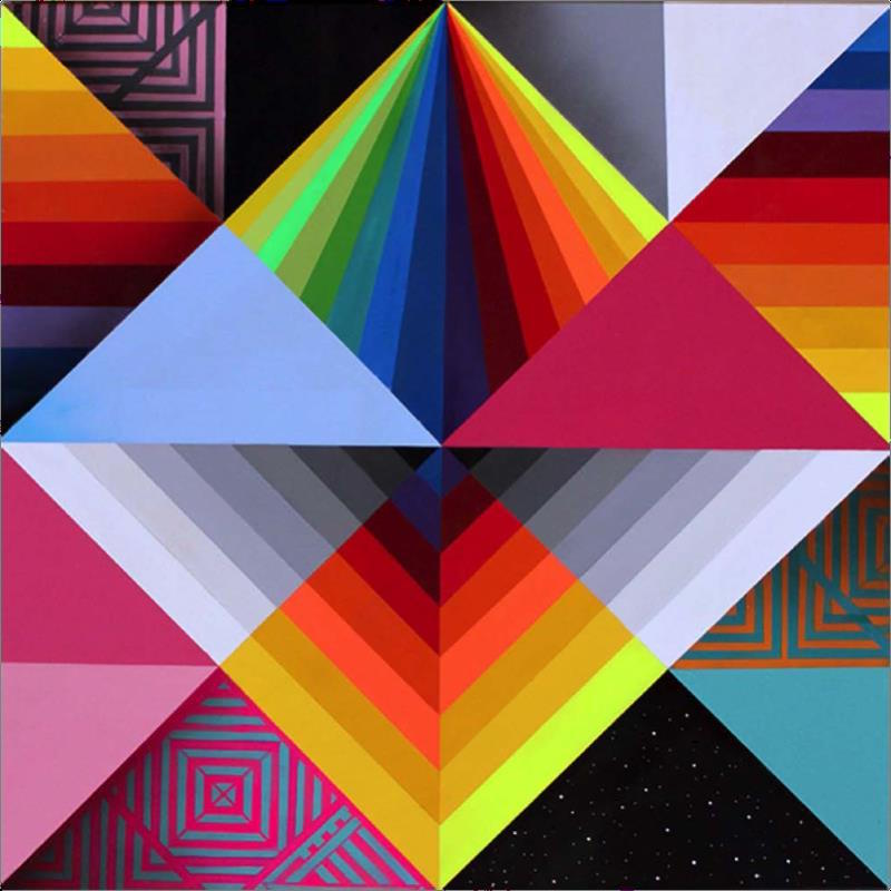 OKUDA  Impossible Perspectives 1 , 2015  Synthetic enamel on canvas. Signed and dated on lower right side  31.5 x 31.5 in.